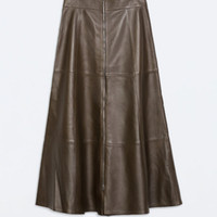 Wholesale New Arrival Fashion Brand Spring Autumn Winter UK Plus Size Big Size Woman A Line High Waist Skirt Midi Long Leather Skirt