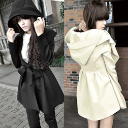 Wholesale Korea Hooded Trench - Q405 Korea Women Ladies Solid Spring Autumn Thin Outerwear Belt Hooded Long Trench Coat Overcoats Black Beige S M L Wholesale