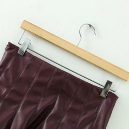 Wholesale Girls Leather Mini Skirts - New Fashion Lady High Waist Faux Leather Mini Skirts Women Clothing Girls Solid Ruffled Skirts Black&Wine Red Free Shipping