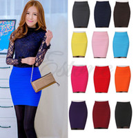 Wholesale Wholesale Green Elastic Skirts - S105- Free Shipping Women's Sexy Pencil Candy Color Elastic High Waist Stretchy Slim Seamless Skirt