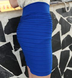 Wholesale New Mini Skirts - 2015 New Fashion Office Lady Summer Skirt Women High Waist Candy Color Elastic Pleated OL Sexy Seamless Mini Short Skirts