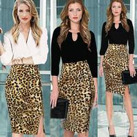 Wholesale Knee Length Skirts Pencil Wholesale - New Fashion 2015 Summer Women Skirts High Waist leopard print Plus Size Bodycon Pencil knee-length Skirt