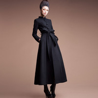 дамская тёплая траншея оптовых-2015 new fashion women wool jacket long trench coat Free shipping ladies winter warm coat thick clothing plus size female