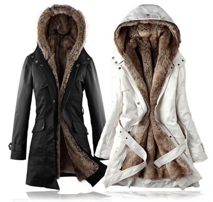 2018 Fashion Women Winter Warm Detachable Faux Fur Lining Long ...