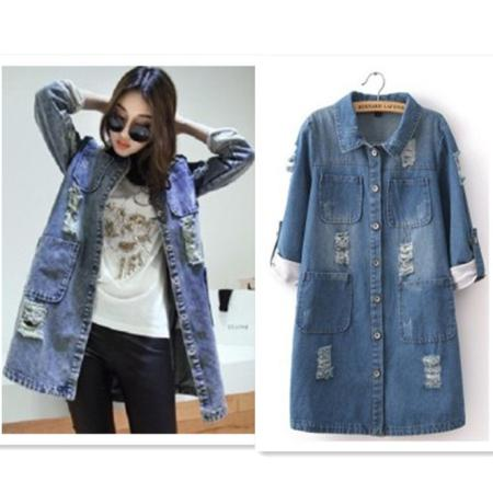 New Charming Spring Autumn Women Jean Jacket Coat Long Section Half