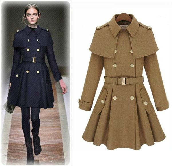 European 2015 Women Fashion Cape Pea Coat Poncho Female Winter ...