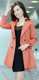 Wholesale Double Breasted Lace Coat - The New Spring 2015 Winter Fashion Double Breasted Belt Lace Slim Women Trench Coat Long Outerwear Ladies Elegant Casual Tops