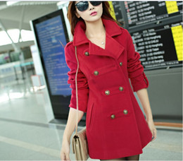 Wholesale Trench Dark Blue - New autumn winter 2015 double breasted female coats overcoat long wool blends trench coat for women Red  Dark Blue