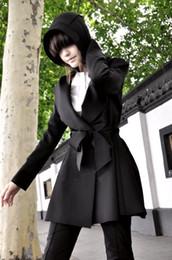 Wholesale Coat Handsome - new 2015 Ladies Hooded discount handsome European style long coat jacket coat Slim trenchcoat women cardigan feminino 596