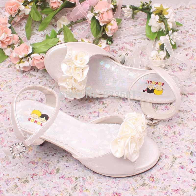 Cheap Hottest Flowers PinkIvory Wedding Shoes Girls Princess Sandals Kids Children Summer Heeled Size 29 36