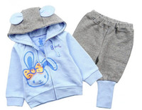 Wholesale Girls Pant Coat Design - Retail NEW design 2015 new children's clothing spring set child hoodies harem pants twinset cartoon rabbit 2 color available