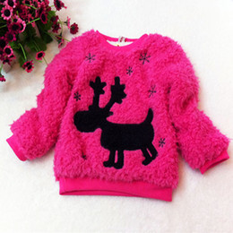 Wholesale Kids Free Sweater Patterns - free shipping winter sweater girl's fashion clothing cute deer pattern embroidered wool outerwear suit2~5age kids