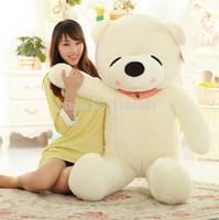 Wholesale Jumbo Plush Stuffed Animals - Wholesale-2015 Hot Fashion sleepy bear toys 2.6 FEET TEDDY BEAR STUFFED DARK BROWN WHITE purple LIGHT BROWN GIANT JUMBO size:80cm WJ09