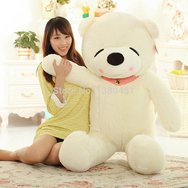Wholesale-2015 Hot Fashion schläfrig Bär Spielzeug 2,6 Füße Teddybär gefüllt dunkelbraun weiß lila hellbraun Riesenjumbo Größe: 80cm WJ09