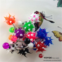 Wholesale One Rings Navel - Wholesale sillicn acrylic belly percing navel & bell button rings classic model 10 pcs one package mix 10color