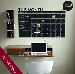 Wholesale Vinyl Wall Decals Animals - 2015 Home Decoration Diy Monthly chalkboard calendar Vinyl Wall Decal Removable Planner wallpaper vinyl Wall Stickers 60*92CM