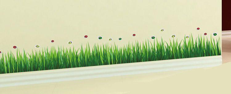 Green Grass Insect Corner Clean Bottom Wall Sticker Pvc Home - Wall decals grass