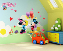 Wholesale Wholesale Minnie Mouse Stickers - hot selling Cartoon Mickey and Minnie Mouse Decor Kids Baby Nursery Decals Wall Sticker the little prince decor