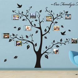 Wholesale Wall Sticker Photo Frames - large SIZE:1800 x1500mm house photo diy frame family tree wall decal big tree vintage poster decoration home vinyl wall stickers