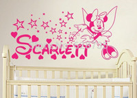 Wholesale Baby Girl Stickers Free Shipping - Free Shipping DIY Minnie Mouse Vinyl Decal Sticker , Minnie Mouse Personalized Name For Baby Girl Nursery Wall Art Decor ,c2064