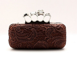 Wholesale Knuckle Skull Wallets - Free shipping,Hot 2015 fashion Skull Clutch Knuckle Rings Evening Bag,ladies' lace Four finger Punk Wallet,Women Handbag 03918-8