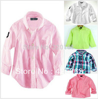 Wholesale Kids Long Sleeve Tee Shirts - New Arrival 100% cotton Candy Color Kids dress shirts Children baby Boys Girls long Sleeve Shirts child clothing Tops Tees high