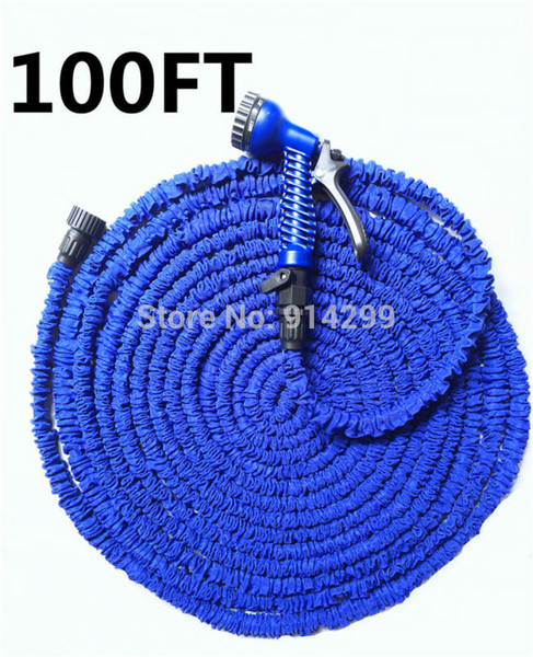 best selling Wholesale-2015 NEW 100FT Flexible Gargen Water hose pipe for Car valve with spray Gun With EU US connector &Blue
