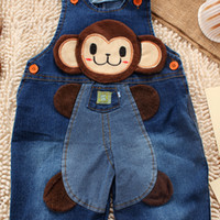 Wholesale Overall Monkey - New 2015 baby pants boy girl spring korean styling jeans trousers infant cartoon monkey bebe overalls pants free shipping