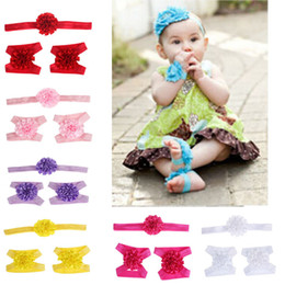 Wholesale Wholesale Baby Barefoot Headband Sets - new 3pcs lot Cute Foot Flower Barefoot Sandals+Headband Baby Set Solid Color Baby Elastic Hair Bands Infant Kids Headbands