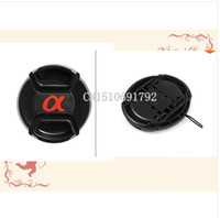 Wholesale Lens Cap Snap - 20PCS49 55 58 62 67 72 77mm Center Pinch Snap-on Front Lens Cap hood Cover forS  DSLR SLR Alpha with Strap