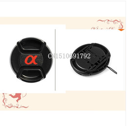 Wholesale Center Strap - 20PCS49 55 58 62 67 72 77mm Center Pinch Snap-on Front Lens Cap hood Cover forS  DSLR SLR Alpha with Strap