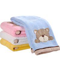 "Wholesale Receiving Fleece Blankets - Wholesale-High Quality Coral Fleece Baby Blanket Polar Fleece Animal Embroidered Receiving Blankets Cartoon Crib Blanket 30*40"" Free"