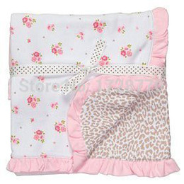 Wholesale Baby Girl Cheetah - Wholesale-newborn baby girl cotton 2-layer flower leopard cheetah reversible blanket ANIMAL PRINT BLANKET swaddle baby shower towel