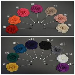 Wholesale Wholesale Lapel Pin - New men's Handmade Wedding Pin Felt Flower Lapel Pin   Boutonniere Stick Pin Garment Accessories