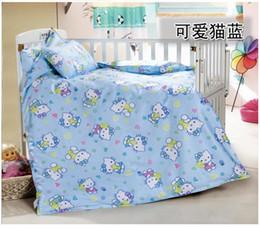 Wholesale Coverlet Kids - Wholesale-3PCS 100% Cotton Kid Baby Children Bedding Set Product Infant Cartoon Quilt Cover Bed Sheet Coverlet Pillowcase for Crib Cradle