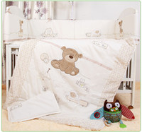 Wholesale Boys Crib Bedding Set - Wholesale-7Pcs Baby Bedding Set for Crib Newborn Baby Bed Linens for Girl Boy Cartoon Bear Detachable Cot Bumpers Sheet Quilt