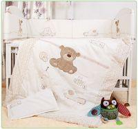 bebek beşik yorgan toptan satış-Wholesale-7Pcs için Beşik Yatak Seti Yenidoğan Bebek Yatak Çarşafları için Kız Erkek Karikatür Ayı Ayrılabilir Cot Tamponlar Sac Yorgan