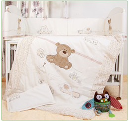 Linen Crib Bedding Sets Canada - Wholesale-7Pcs Baby Bedding Set for Crib Newborn Baby Bed Linens for Girl Boy Cartoon Bear Detachable Cot Bumpers Sheet Quilt