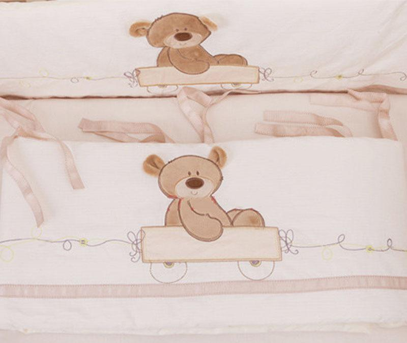 Wholesale-7Pcs Baby Bedding Set for Crib Newborn Baby Bed Linens for Girl Boy Cartoon Bear Detachable Cot Bumpers Sheet Quilt