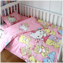 Wholesale Champagne Bedding Sets - Wholesale-baby crib bed linen 100% cotton baby bedding set baby girls and boys bedclothes pillowcase+ duvet cover +sheet 3pcs set
