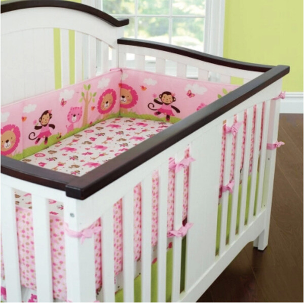 Wholesale-Sweet Zoo Animals Pink Baby Bedding set girls cot set Embroidery Quilt Fitted Sheet Bumpers Skirt nursery crib set bed kit