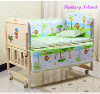 Wholesale Champagne Bedding Sets - Wholesale-Free shipping hot 5 Pcs sets baby bedding set baby 100% cotton sabanas cuna baby bed bumper set baby cot protectores de cuna