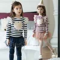 Wholesale Dress Tutu Skirt Leggings - Freeshipping Kids Outfits Stripe Heart Tops+Tutu Skirt Leggings Girl Cotton Dress