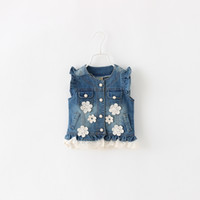 богемная одежда для детей оптовых-Baby Girls Spring Denim Vest For New Fashion Summer With Lace Ruffles Button Pocket Style Outerwear Children Clothing 5pcs/lot