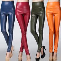 hoch geschnittene leggings großhandel-Mode Herbst / Winter Warme Frauen Kunstleder Hosen Elastische Sexy Lady Lederhosen Slim Fit Hohe Taille Leggings Frauen Hosen