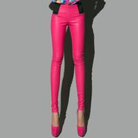Wholesale Black Jumpsuit Boot Cut - PU women pants cal hip hop pants pencil 4 color blue rose black red leather trousers fashion leggings sexy pantalones jumpsuit