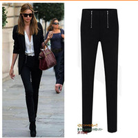 Wholesale Black Leggin - S-XXL 2015 Women High Waist Pants Harem Slim Pencil trousers candy capris zipper Fashion skinny Office Ladies Jeans Black Leggin