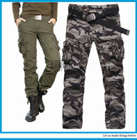 Wholesale Womens Army Green Pants - trousers women cargo pants fashion clothing Womens Military Army Green Camouflage Cargo Pocket Pants Leisure Trousers for woman
