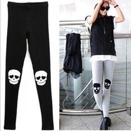 Wholesale Skull Knee Boots - East Knitting Free Shipping A63 2015 NEW Women Knee Skull printed leggings womans fashion Sport Pants black grey