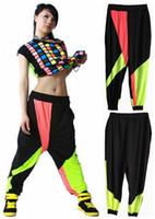 Wholesale Harem Jazz Sport Pants - New fashion Brand Harem Hip Hop Dance Pants Sweatpants Costumes female stage performance wear harem Neon jazz sports trousers